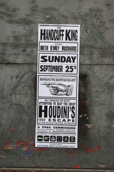 Poster by William Hibberd for The Handcuff King at Stonehouse Action's Union Street street party